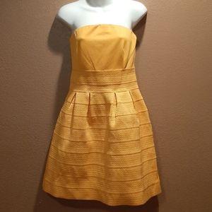 New York & Company yellow strapless dress sz S